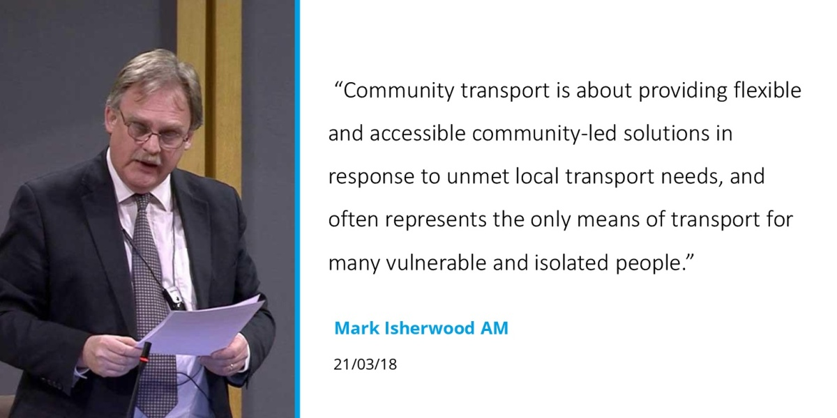 Welsh Assembly debate celebrates community transport and calls for further support for the sector